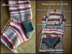 tuto_chaussette12 Loom Knitting Patterns, Knitting Blogs, Easy Knitting, Knitting Designs, Knitting Socks, Knitted Hats Kids, Knitted Blankets, Knitted Christmas Stockings, Christmas Knitting