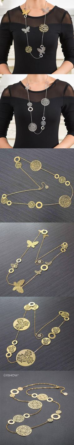 Fashion Statement Necklaces For Women Vintage Oval Hollow Round Flower Gold Silver Plated Long Necklace Accessories Jewelry gift