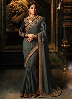 cb4260c7aced1 Grey and Black Embroidered Silk Saree features a bangalori silk and  georgette blouse alongside a silk