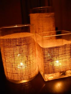 Hmmm, maybe I want sell all of my glass containers after all. Burlap Candles, Burlap Centerpieces, Birthday Centerpieces, Centerpiece Ideas, 60th Birthday Party, Backyard Birthday, Burlap Crafts, Diy Crafts, My Glass