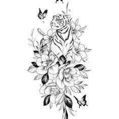 Elegant Tattoos, Feminine Tattoos, Beautiful Tattoos, Dope Tattoos, Back Tattoos, White Tiger Tattoo, Plant Tattoo, Flower Sketches, Large Tattoos
