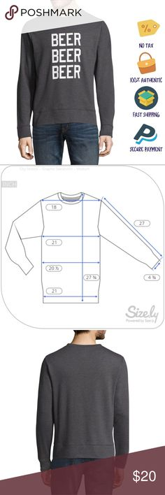 """Gray Long Sleeve """"Beer"""" Men's Graphic Tee City Streets, Gray, Long Sleeve """"Beer Beer Beer"""" Graphic Sweatshirt, Medium  Item Condition: New with tags. Please review measurements to assure a perfect fit! Product shipped from smoke, animal, and child-free environment.   Sleeve Length: Long Sleeve Collar: No Collar Fabric Description: French Terry Fabric Content: 60% Cotton, 40% Polyester Closure Type: Pullover Head Neckline: Crew Neck Care: Machine Wash Country of Origin: Imported Measurements…"""