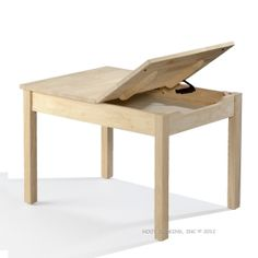 Solid Parawood Unfinished Storage Child Table