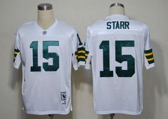 Mitchell and Ness Green Bay Packers 15 Bart Starr White Stitched Throwback NFL Jersey:$21