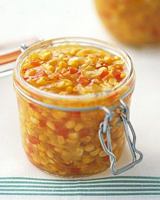 Corn Relish This colorful relish is delicious with grilled chicken or shrimp. It also pairs well with the piquant flavors of quesadillas or crab cakes. Corn Relish Recipes, Corn Recipes, Canning Recipes, Healthy Recipes, Canning 101, Pressure Canning, Vegetable Recipes, Healthy Meals, Stuffed Peppers