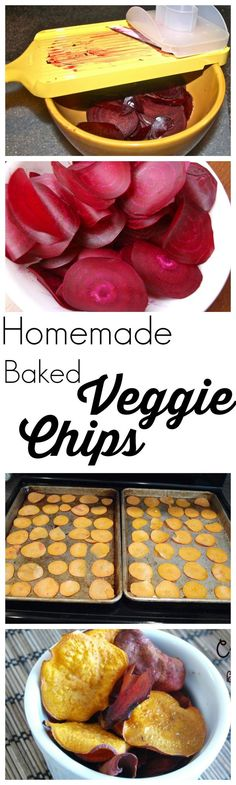Make your own veggie chips at home! These healthy baked chips are crispy and delicious! One of my family's tried and true recipes.: