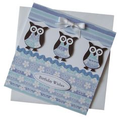 Handmade Trio Owls Birthday Card