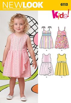 Brand New Simplicity  New Look Pattern  #6113 Baby Girl's Toddler Sundress Straps Ruffles Tiered Size 7-24 lbs