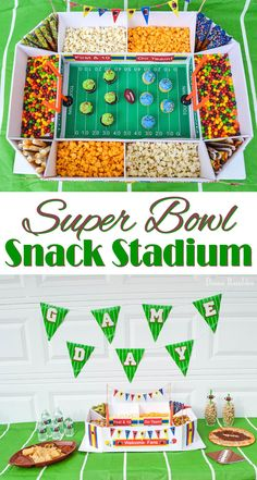 DIY Super Bowl Snack Stadium Tutorial - Impress your guests this Super Bowl Snack Stadium for your Super Bowl Party. It's easy to make and fill with your favorite snacks.