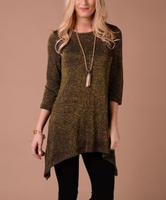 Lbisse Gold & Black Metallic Sweater Sidetail Tunic by Lbisse #zulily #zulilyfinds