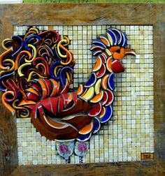 Ceramic mosaic rooster - Brilliantly thought out! Cup handles, dishes