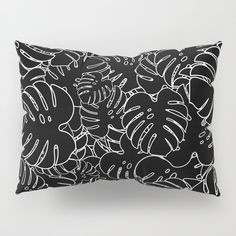 Monstera Leaves Pattern Black Pillow Sham by bitart Pillow Shams, Pillow Covers, Shades Of White, Black And White, Black Pillows, Nordic Home, Scandinavian Bedroom, Snug Fit, Bedding