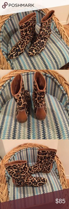 """B. Makowsky Leopard Flat Boot Calf Hair and All Leather upper B. Makowsky Leopard inside zip Flat 8"""" high Boots. 12"""" opening great shape b. makowsky Shoes Ankle Boots & Booties"""