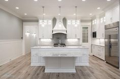 DON'T LIKE HOODwhite kitchen cabinets, gray walls, natural wood floors. New 2017 Interior Design Tips and Ideas Grey Wood Floors, Natural Wood Flooring, White Oak Floors, Grey Walls, Wood Walls, Grey Kitchen Walls, Grey Kitchens, White Kitchen Cabinets, Home Kitchens