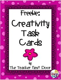 Freebie! 32 task cards for fast finishers, whole class writing prompts, centers and more!