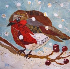 Berry Merry Robin Original Torn Painted Paper by DawnsGallery, Paper Collage Art, Paper Artwork, Collage Artists, Fabric Birds, Fabric Art, Paper Mosaic, Bird Quilt, Landscape Quilts, Painted Paper