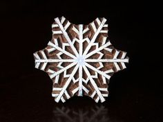 Wood Block, Tjaps, Carved wood stamp, Indian wood stamps, Pottery Stamp, Soap Stamp-Snowflake