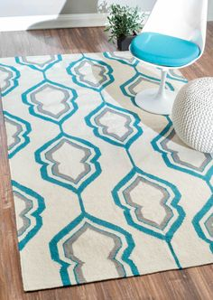 nuLOOM Flatweave Geometric Lattice Wool Rug x - Overstock™ Shopping - Great Deals on Nuloom - Rugs Teal Rug, Teal Area Rug, Grey Rugs, Rugs Usa, Contemporary Area Rugs, Cool Rugs, Home Decor Trends, Online Home Decor Stores, Woven Rug