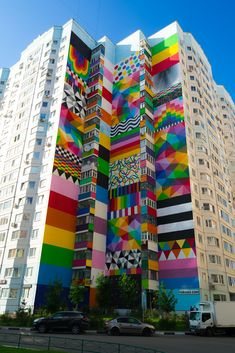 Okuda in Odintsovo, Russia for Urban Morphogenesis 3d Street Art, Urban Street Art, Murals Street Art, Street Art Graffiti, Street Artists, Graffiti Artists, Street Art News, Graffiti Wall Art, Graffiti Painting