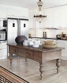 Vintage Farmhouse Kitchen Island Inspirations 13 image is part of 99 Inspirations Vintage Farmhouse Style Kitchen Island gallery, you can read and see another amazing image 99 Inspirations Vintage Farmhouse Style Kitchen Island on website Farmhouse Kitchen Island, Old Kitchen, Kitchen Islands, Kitchen Modern, Kitchen Ideas, Vintage Kitchen, Modern Kitchens, Rustic Kitchens, Antique Kitchen Island