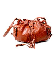 Camel Rose Leather Bucket Bag