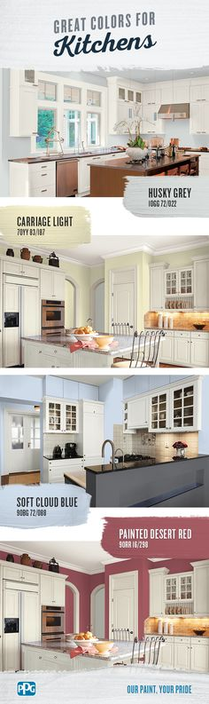 Great Kitchen Colors - Paint Colors - Interior & Exterior Paint Colors For Any Project Kitchen Paint Colors, Exterior Paint Colors, Paint Colors For Home, Room Colors, House Colors, Carriage Lights, House Painting, Painting Tips, Colorful Interiors