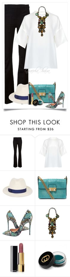 """""""Emerald"""" by grachy ❤ liked on Polyvore featuring Frame Denim, Cédric Charlier, Borsalino, Lanvin, Christian Louboutin, Bea Valdes, Chanel and Gucci"""