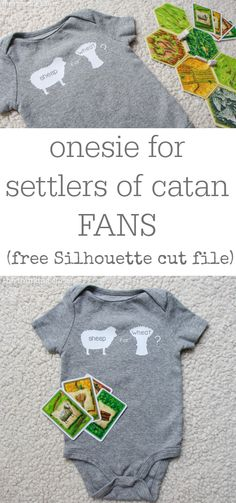 Baby onesie for Settlers of Catan board game FANS | FREE Silhouette cut file via thinkingcloset.com.  Such a fun baby shower gift idea!