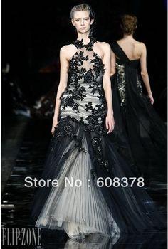 Zuhair murad robe de bal haute couture un ligne de tulle noir plancher appliques en dentelle longueur robe