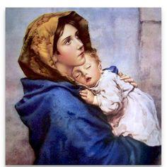 Madonna Of The Streets, Vintage Illustration Canvas, Virgin Mary, Child Jesus, Large Wall Saint Anthony Of Padua, Saint Joseph, Madonna And Child, Famous Art, Catholic Art, Blessed Mother, Virgin Mary, Sacred Art, Street Photo