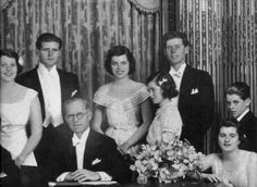 Here Ambassador Kennedy is pictured with his attractive family. He had a correct vision of what war would mean. He would lose his eldest son...
