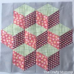 Craftsy free Block of the Month - July Block - Tumbling Blocks - loving this free Block of the Month patchwork seriesIt might be February but I have finished the January quilt block in the Craftsy free Block of the Month forIn 2013 I have worked on two Bl Patchwork Quilt Patterns, Hexagon Quilt, Applique Quilts, Square Quilt, Patchwork Fabric, Quilting Tutorials, Quilting Projects, Quilting Designs, Tumbling Blocks Quilt