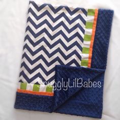 Baby blanket navy lime orange trim with lime stripe and navy