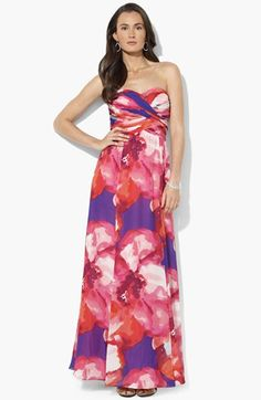 Lauren Ralph Lauren Strapless Print Chiffon Gown available at #Nordstrom