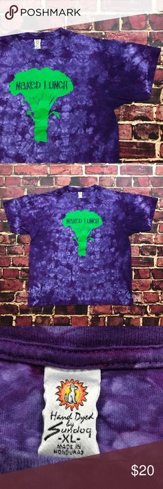 Vintage Sundog Tie Dye Shirt Hippie Boho Vegan Tee Vintage Sundog Naked Lunch Tie Dye Shirt Mens Size X-Large in Purple  Overall good shape! Only one minor rip on seam on back of shirt, shown in photos. Can be easily repaired since it is a seam tear! Mens size XL, fit is true to size. Graphic is in great shape and shows minimal wear.   See Photos.  Plenty of other items for sale & always listing more! Be sure to check out my store & give me a follow Sundog Shirts Tees - Short Sleeve
