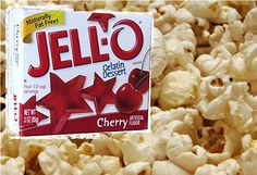 JELLO POPCORN RECIPE.. .. 2 sticks butter (butter)  2 c. sugar,  1/2 c. dark corn syrup, 4 tbsp. Jello (any flavor)  1/2 tsp. soda  1 tsp. vanilla  16 c. popped popcorn  Melt butter in saucepan. Add sugar and syrup and melt. Boil 2 minutes. Remove from heat. Stir in Jello, soda and vanilla; pour over popcorn.  Bake at 250 degrees for 15 minutes, stir and bake 15 minutes longer. Remove from oven and break into pieces. Cool in clean bowls or pans, or it will stick. Jello Popcorn, Popcorn Balls, Pop Popcorn, Flavored Popcorn, Popcorn Recipes, Party Recipes, Jello Gelatin, Fabulous Foods, Stick Of Butter