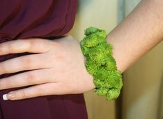 Prom flowers | beautiful corsages | green wrist corsage | modern cuff corsage | Westchester New York | Bedford Village Florist
