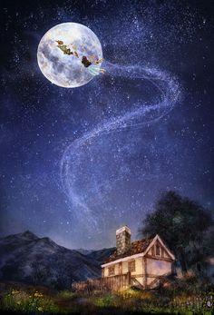 잠이 오지 않던 밤, 방으로 날아든 소년의 손을 나는 선뜻 잡았습니다. 굴뚝이 있는 지붕과 높은 산을 훌쩍 넘고, 수많은 별들을 지나 푸른 달의 코앞까지 우리는 가볍게 날아 올랐습니다.