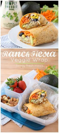 Super easy wrap idea! Ranch Fiesta Veggie Wrap - Packed in #EasyLunchboxes containers #lunchbox #lunch #healthylunchideas