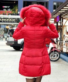 2015 winter down jacket real large Raccoon fur collar women warm coat show slim medium-long thickening cotton-padded red beige