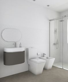 Aseo diseñado por Fábrica de Arquitectura para una vivienda unifamiliar en una urbanización de Carmona (Sevilla). Tanto los materiales como los aparatos sanitarios son de Porcelanosa. Bathrooms, Bathtub, Gadgets, Sevilla, Architecture, Interiors, Toilets, Standing Bath, Bath Tub