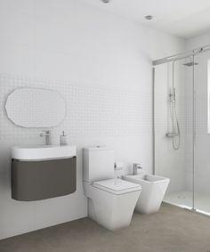 Aseo diseñado por Fábrica de Arquitectura para una vivienda unifamiliar en una urbanización de Carmona (Sevilla). Tanto los materiales como los aparatos sanitarios son de Porcelanosa.