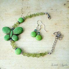 Green butterfly bracelet gift set howlite earring by LittleApples