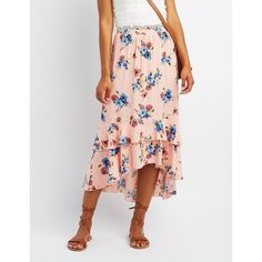 Charlotte Russe Floral Ruffle Maxi Skirt ($27) ❤ liked on Polyvore featuring skirts, blush, tiered ruffle maxi skirt, floral skirts, long skirts, high low ruffle skirt and maxi skirt