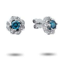 1ctw Color Treated Blue Diamond and White Diamond Rose Earrings