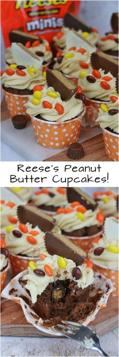 Chocolate Cupcakes with a hidden Reese's Peanut Butter Cup Centre, Peanut Butter Frosting, and even more Reese's! Cheescake Recipe, Reeses Peanut Butter Cupcakes, Peanut Butter Frosting, Cupcake Flavors, Cupcake Recipes, Cupcake Ideas, Baking Cupcakes, Fun Cupcakes
