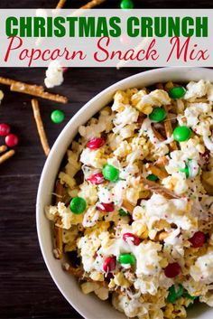 Christmas Crunch Popcorn Snack Mix is the perfect sweet and salty treat! This easy and addictive snack can be thrown together in less than 10 minutes and ready to go! #popcorn #snackmix #christmassnack #christmastreat #easysnackmix #popcornsnackmix