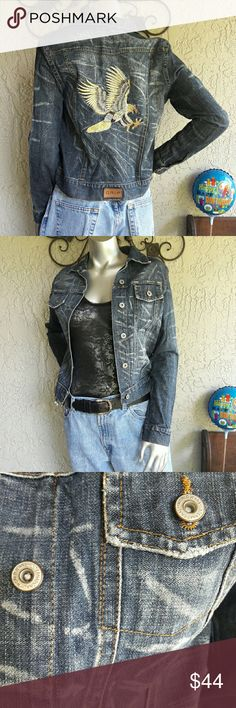 """World Jeans Internation Grip Eagle Trucker Jacket Brand World Jeans Internation Grip Work it Girl Size Medium  Measurements Bust 34"""" Waist 32"""" Length 23"""" Sleeve Inseam 19"""" Shoulder to shoulder across Back 16"""" 100% Cotton  Destressed Denim Jean Jacket Traditional Design. Trucker or Biker Style. Embroidery Eagle Back with leather GRIP Tag. Designer Silver Buttons Perfect like new condition Ready to go From my house to yours with love.  Bundles available with discounts World Jeans  Jackets…"""