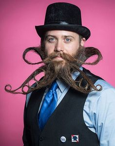 Chad Roberts shows off his Aerofoil beard at the Ohio Beard and Moustache Competition on October 6, 2012. This style was placed third in the full beard styled category.  Picture: Stephen Takacs / Rex Features