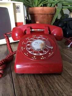 Vintage 1967 Western Bell Red Rotary Phone